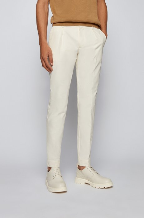 Slim-fit pants in paper-touch cotton poplin, White
