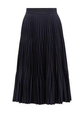 Crinkle-crepe midi skirt with graduated plissé pleats, Light Blue
