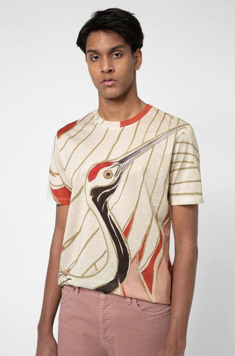 Mercerised-cotton T-shirt with Japanese-crane print, Patterned