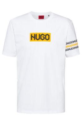 Hugo Cottons HUGO BOSS - COTTON T SHIRT WITH TIRE PRINT LOGOS - WHITE