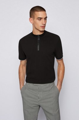 Regular-fit cotton-piqué polo shirt with stand collar, Black