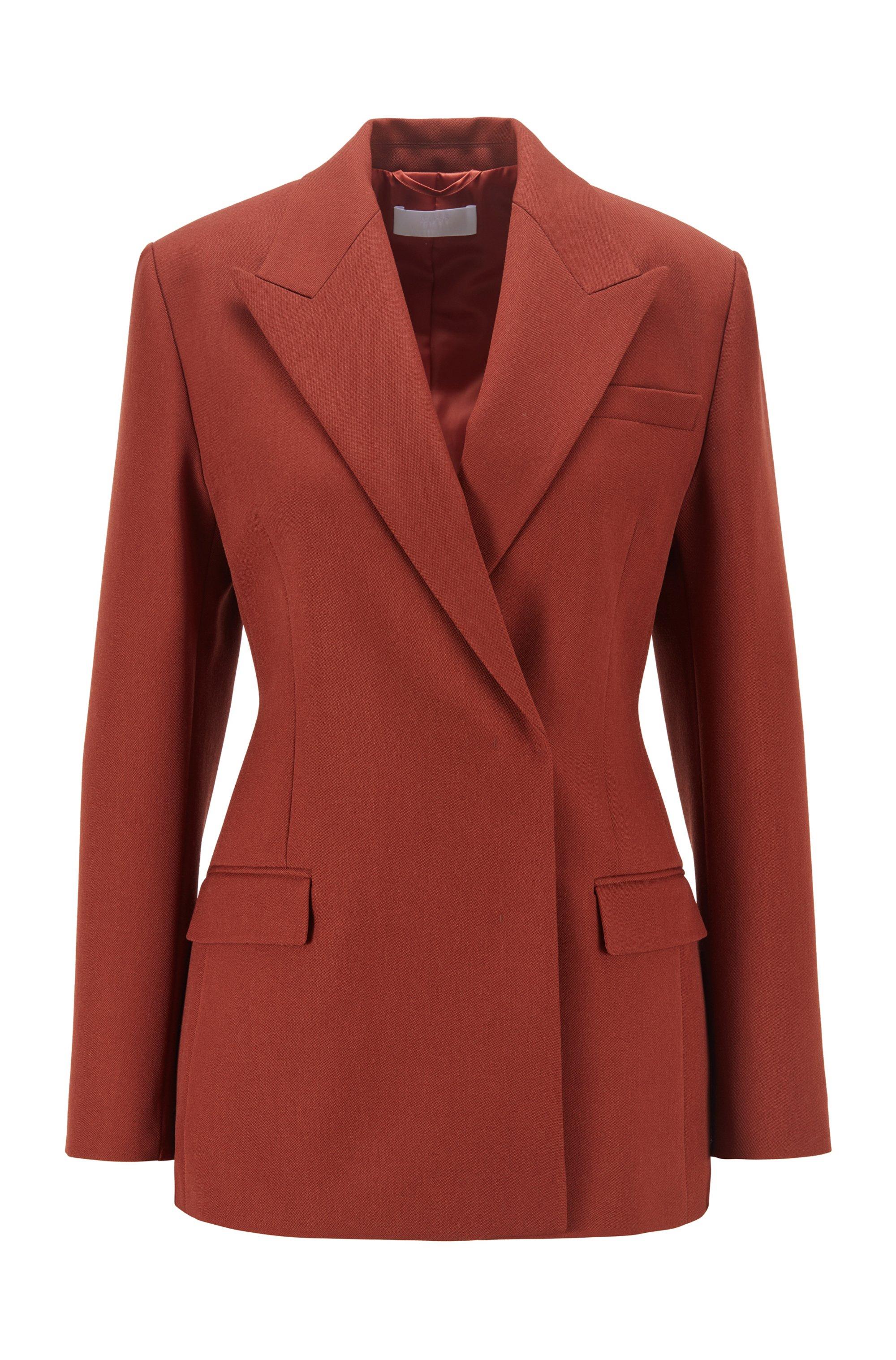 Regular-fit jacket in Italian virgin wool, Brown