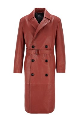 Double-breasted overcoat in grained calf leather, Brown