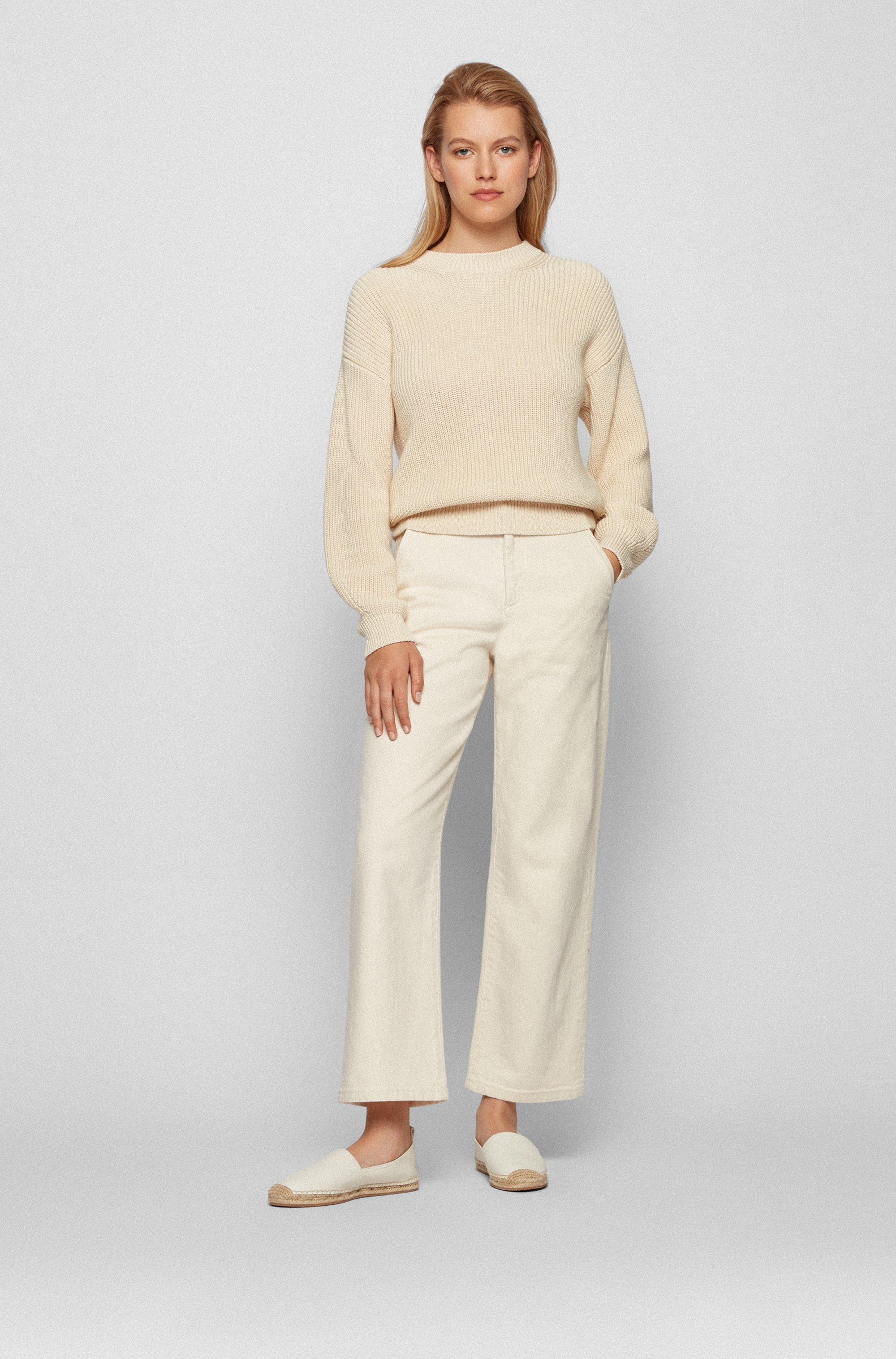 Relaxed-fit sweater in structured cotton