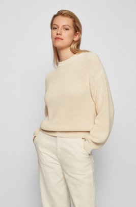 Relaxed-fit sweater in structured cotton, White