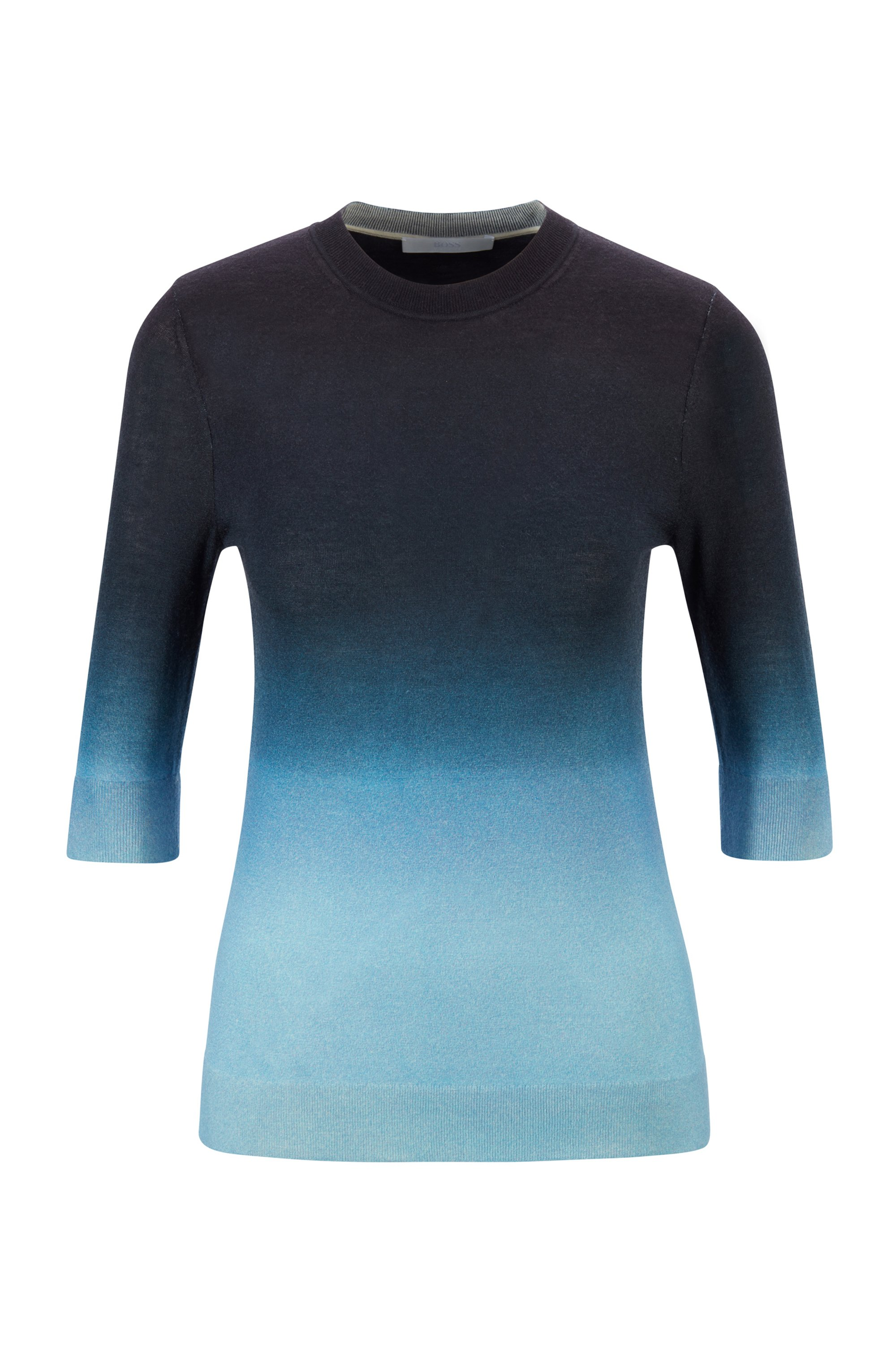 Virgin-wool sweater with ombré print, Patterned