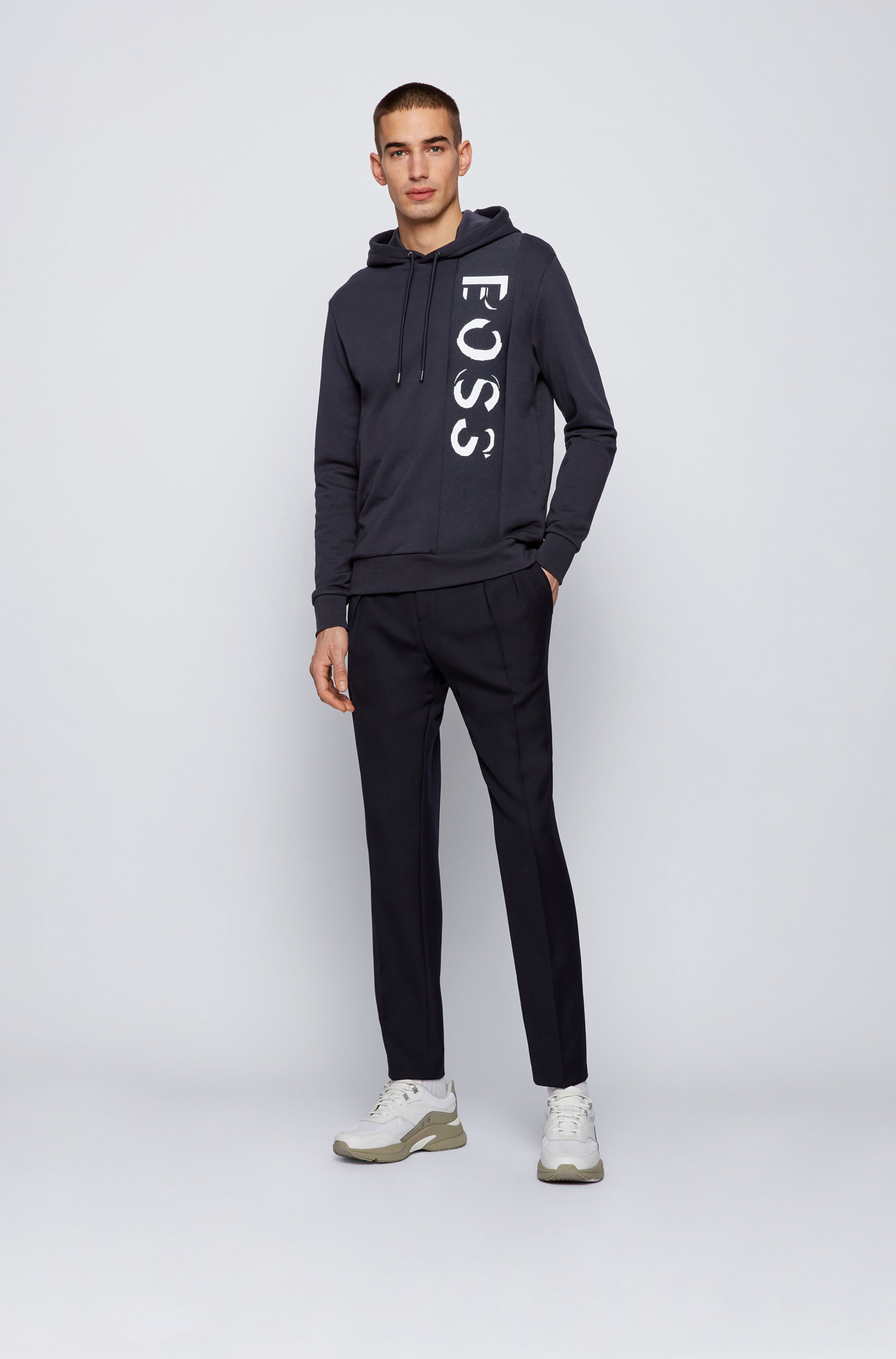 French-terry hooded sweatshirt with large-scale logo