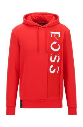French-terry hooded sweatshirt with large-scale logo, Red