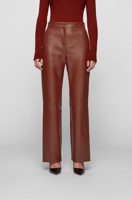 Wide-leg pants in plonge leather, Brown