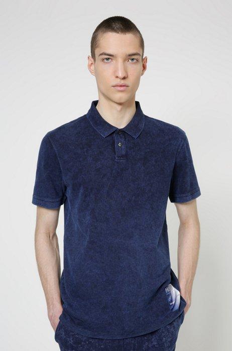 Garment-dyed polo shirt in Recot2® cotton piqué, Light Blue