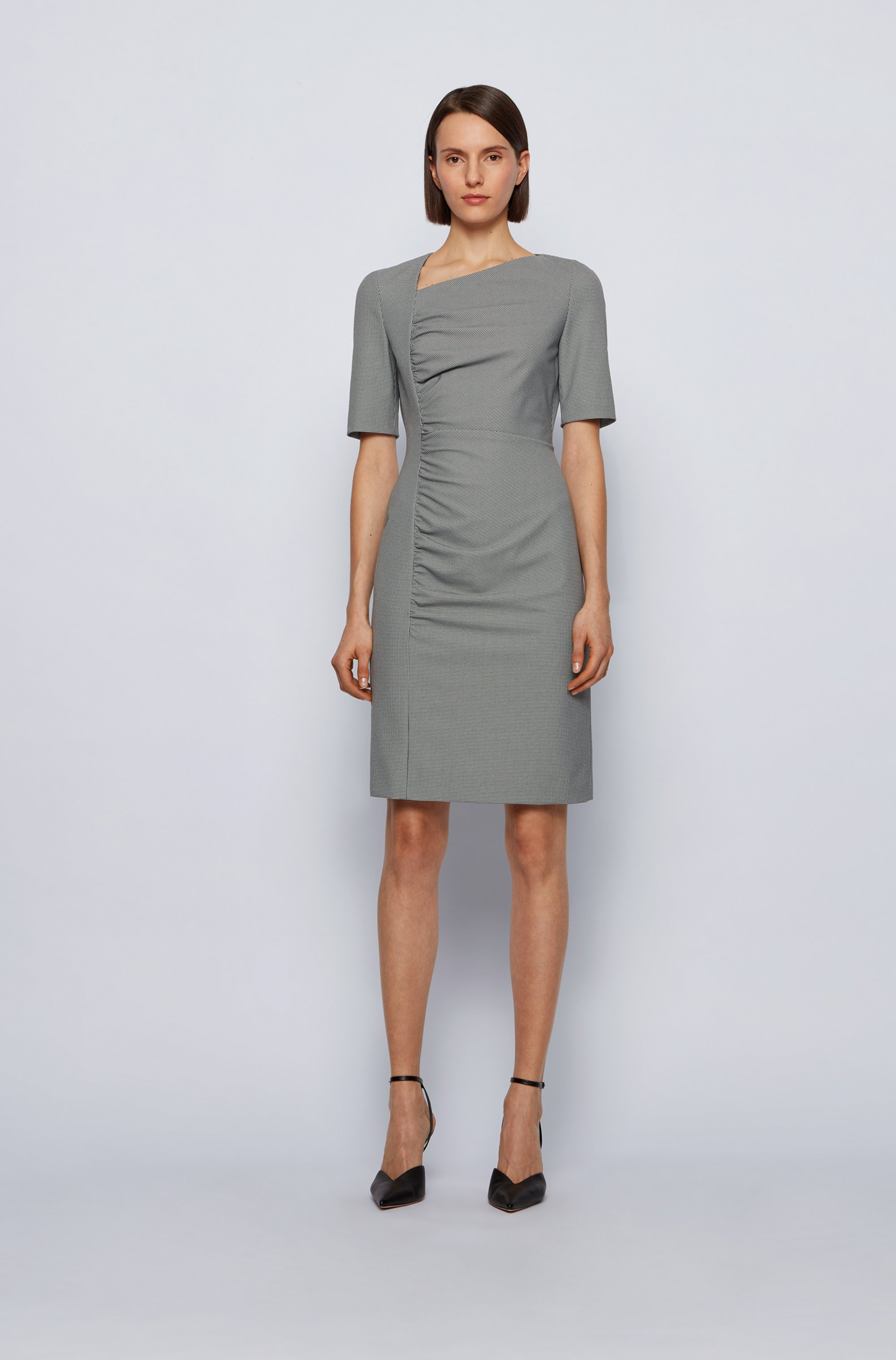 Slim-fit dress in stretch houndstooth with gathered front