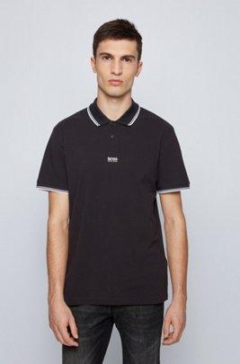 Cotton-piqué polo shirt with seven-layer logo, Black
