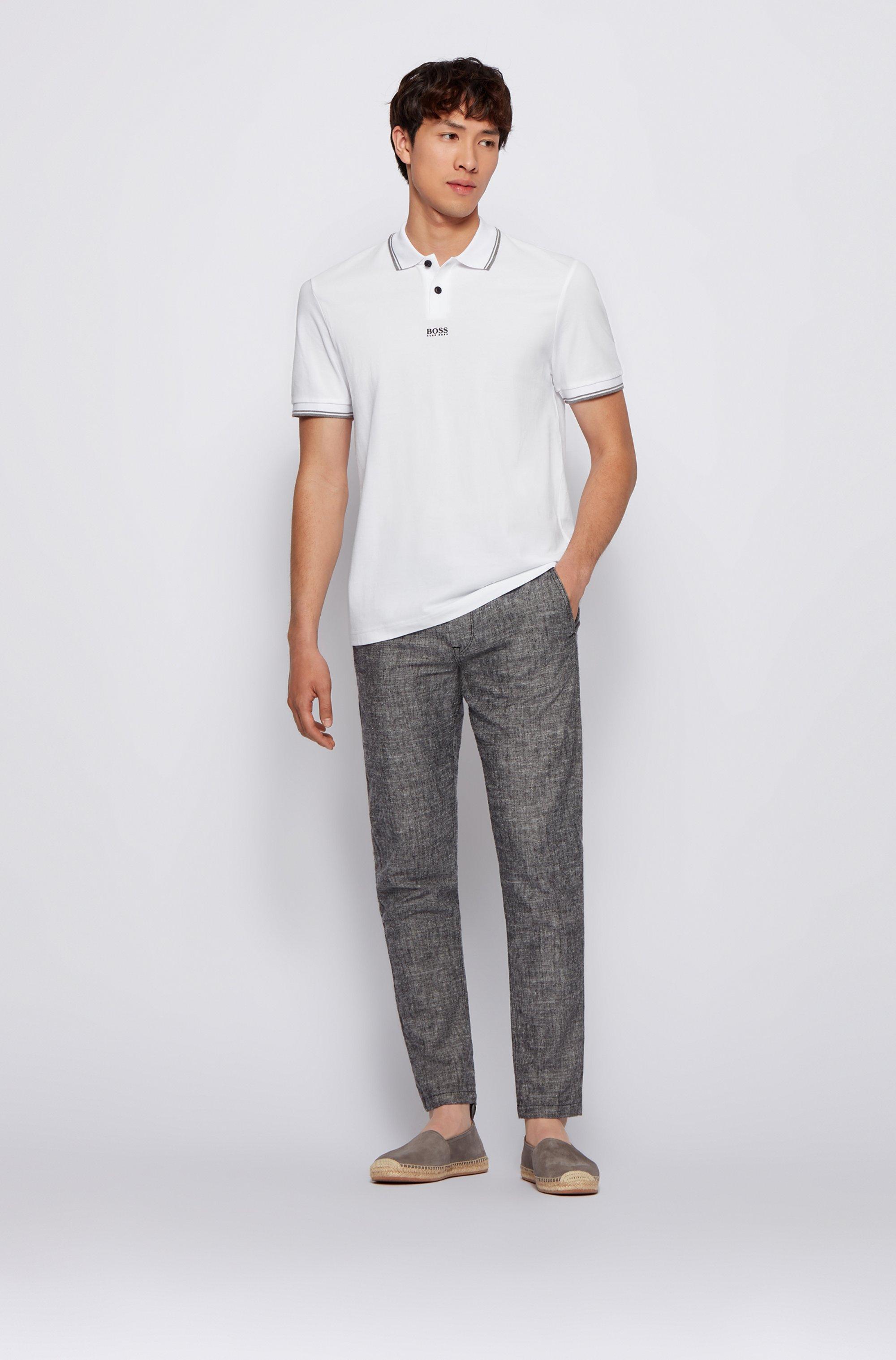 Cotton-piqué polo shirt with seven-layer logo
