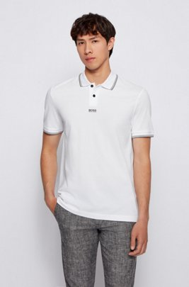 Cotton-piqué polo shirt with seven-layer logo, White