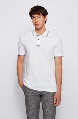 Cotton-piqué polo shirt with seven-layer logo, White