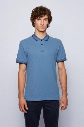 Cotton-piqué polo shirt with seven-layer logo, Light Blue