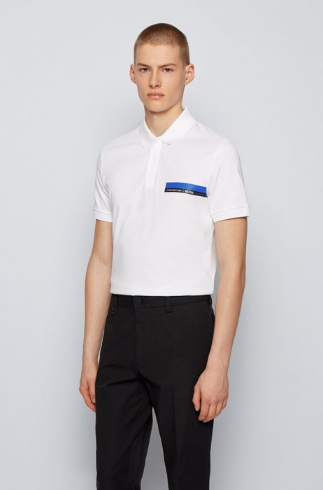 Slim-fit polo shirt in single-jersey cotton, White