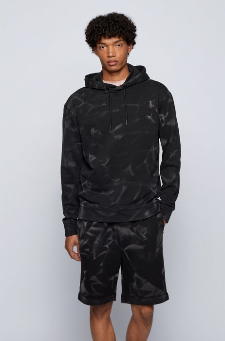 Relaxed-fit hoodie in French terry with bleach spray, Black