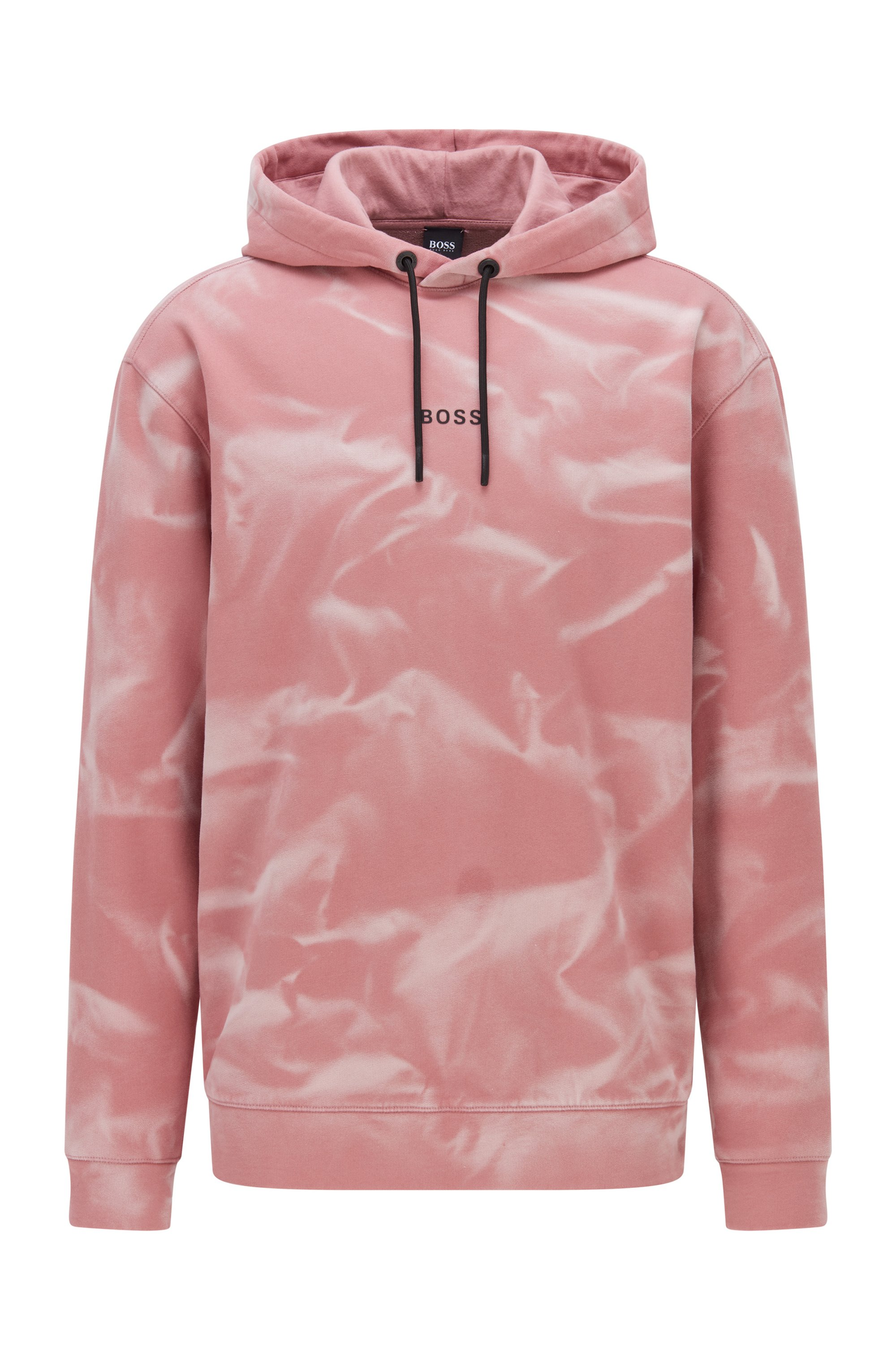 Relaxed-fit hoodie in French terry with bleach spray, light pink