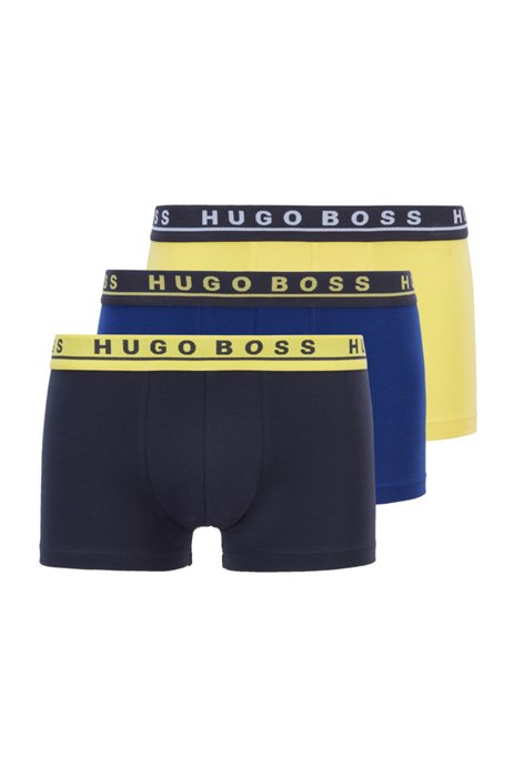 Three-pack of stretch-cotton trunks with logo waistbands, Patterned