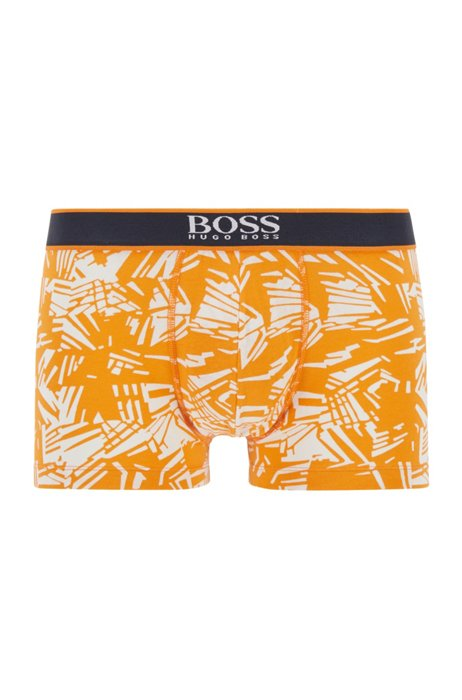 Regular-rise trunks in stretch cotton with abstract print, Dark Orange