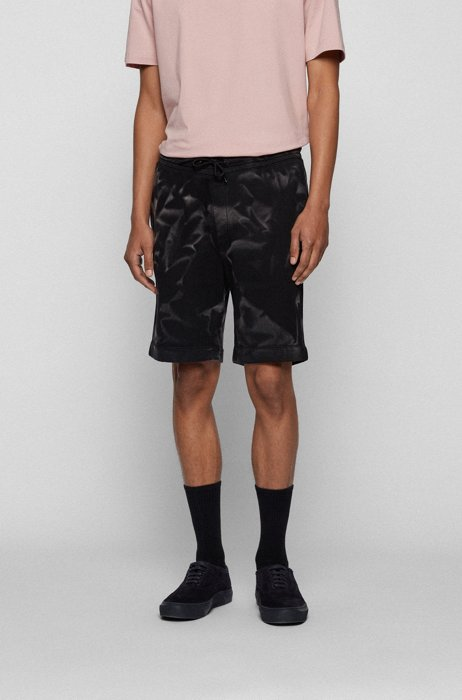 Bleach-sprayed shorts in an organic-cotton blend, Black