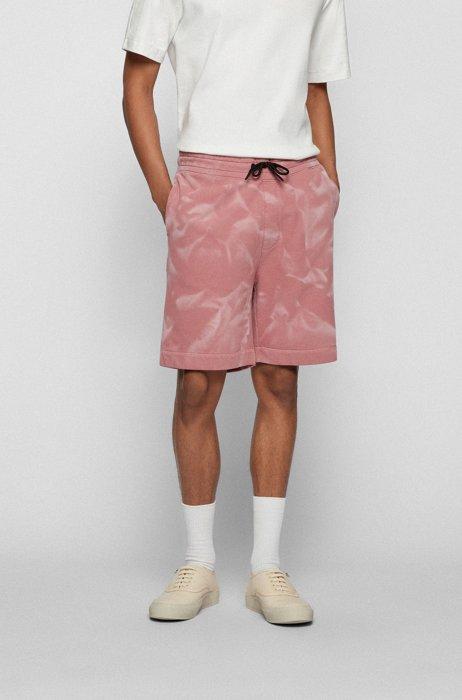 Bleach-sprayed shorts in an organic-cotton blend, light pink