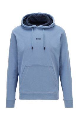 Relaxed-fit hooded sweatshirt in French terry with logo, Light Blue