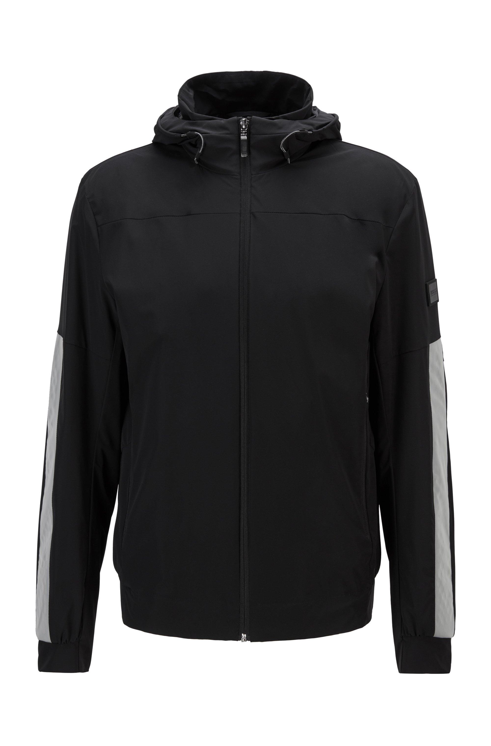 Regular-fit water-repellent jacket with reflective detailing, Black