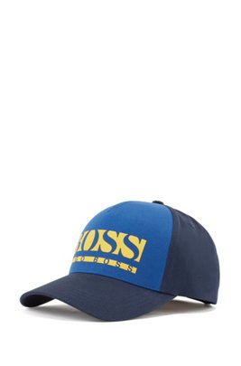 Cap in cotton-blend twill with color-block logo, Dark Blue