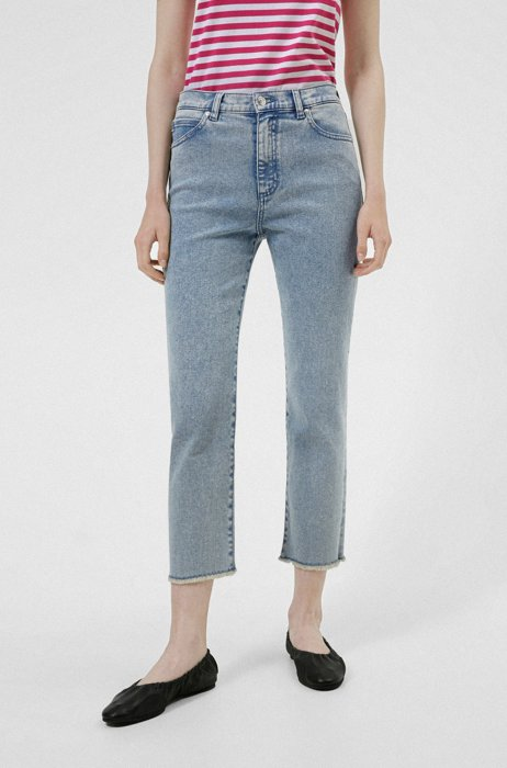Relaxed-fit jeans in acid-washed stretch denim, Turquoise