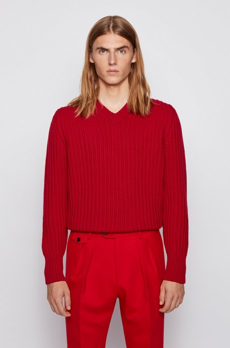 V-neck long-sleeved sweater in virgin wool , Red
