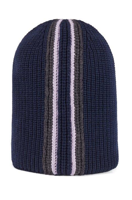 Beanie hat in virgin wool, Dark Blue