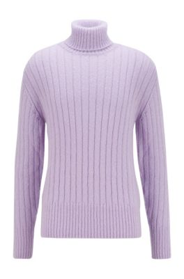 Long-sleeved rollneck sweater with ribbed structure, Light Purple