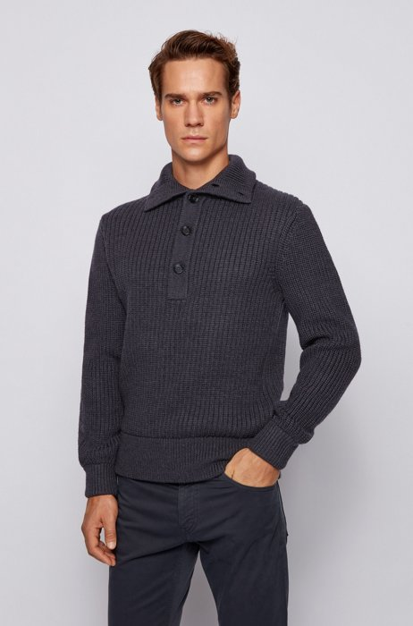 Knitted sweater in virgin wool with button placket, Light Grey
