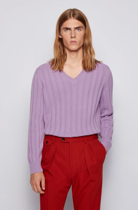 Long-sleeved sweater in cashmere with V neckline, Light Purple