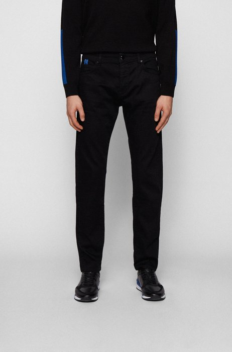 Tapered-fit jeans in black stretch denim, Black