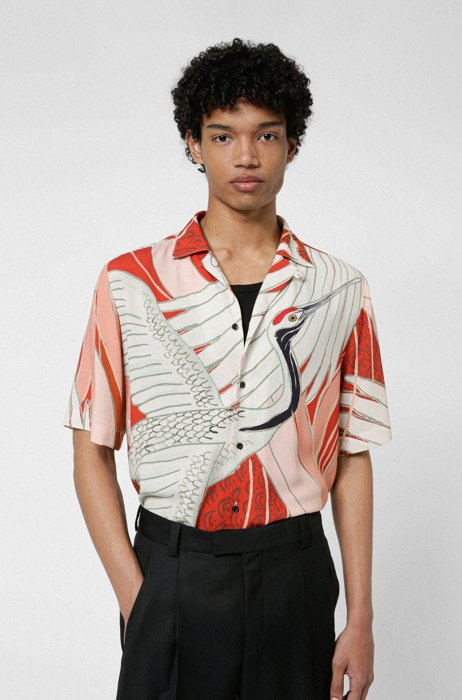 Relaxed-fit shirt with Japanese-crane print, Light Brown