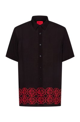 Relaxed-fit shirt with ornamental printed hem, Black