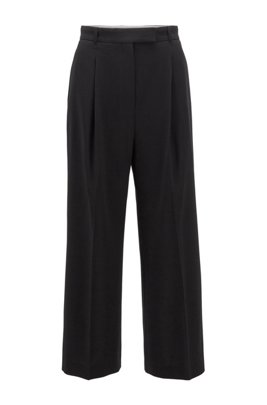 Wide-leg relaxed-fit pants in a wool blend, Black