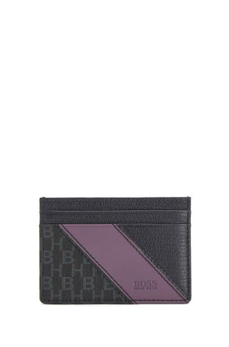 Porte-cartes en tissu italien enduit à monogramme, Noir