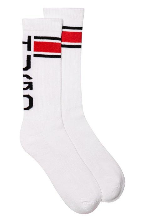 Chaussettes style skater à rayures et logo, Blanc