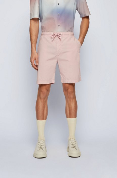 Relaxed-fit shorts in stretch-cotton poplin, light pink