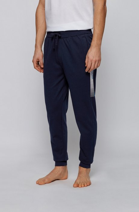 Cuffed-hem loungewear pants with heat-sealed logo artwork, Dark Blue