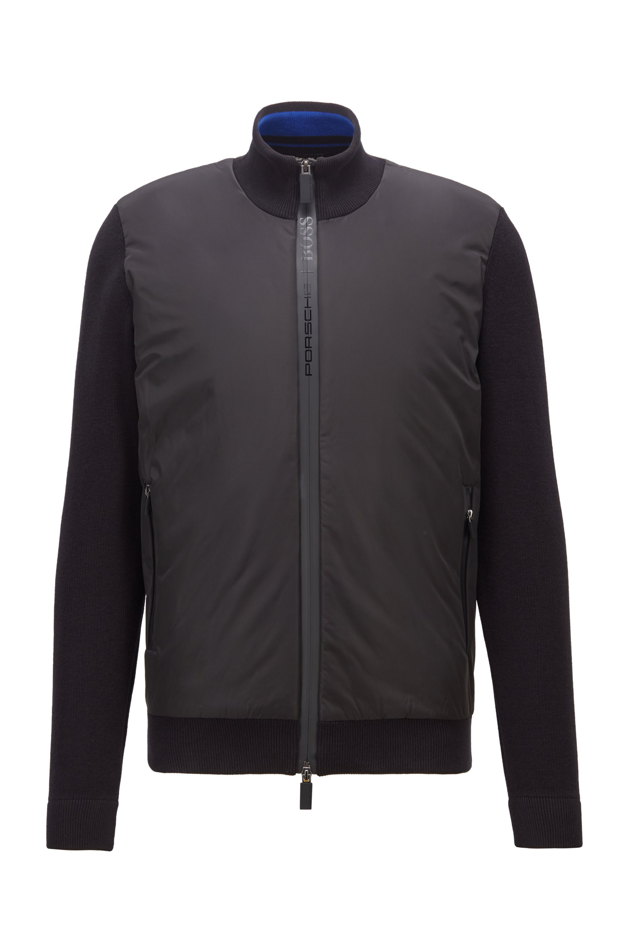 Zip-through padded jacket with knitted sleeves, Black