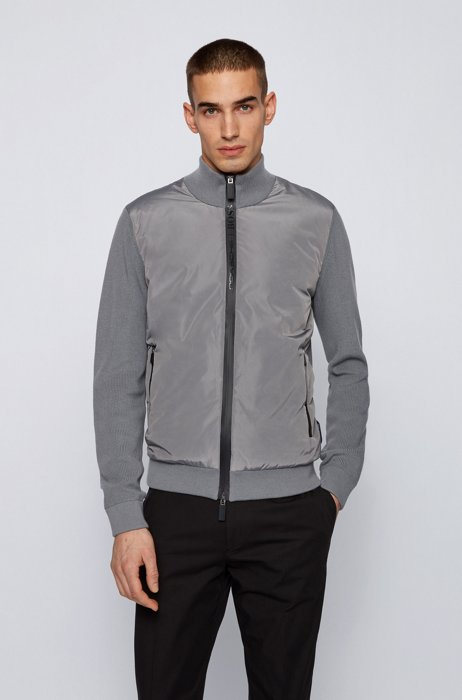Zip-through padded jacket with knitted sleeves, Light Grey
