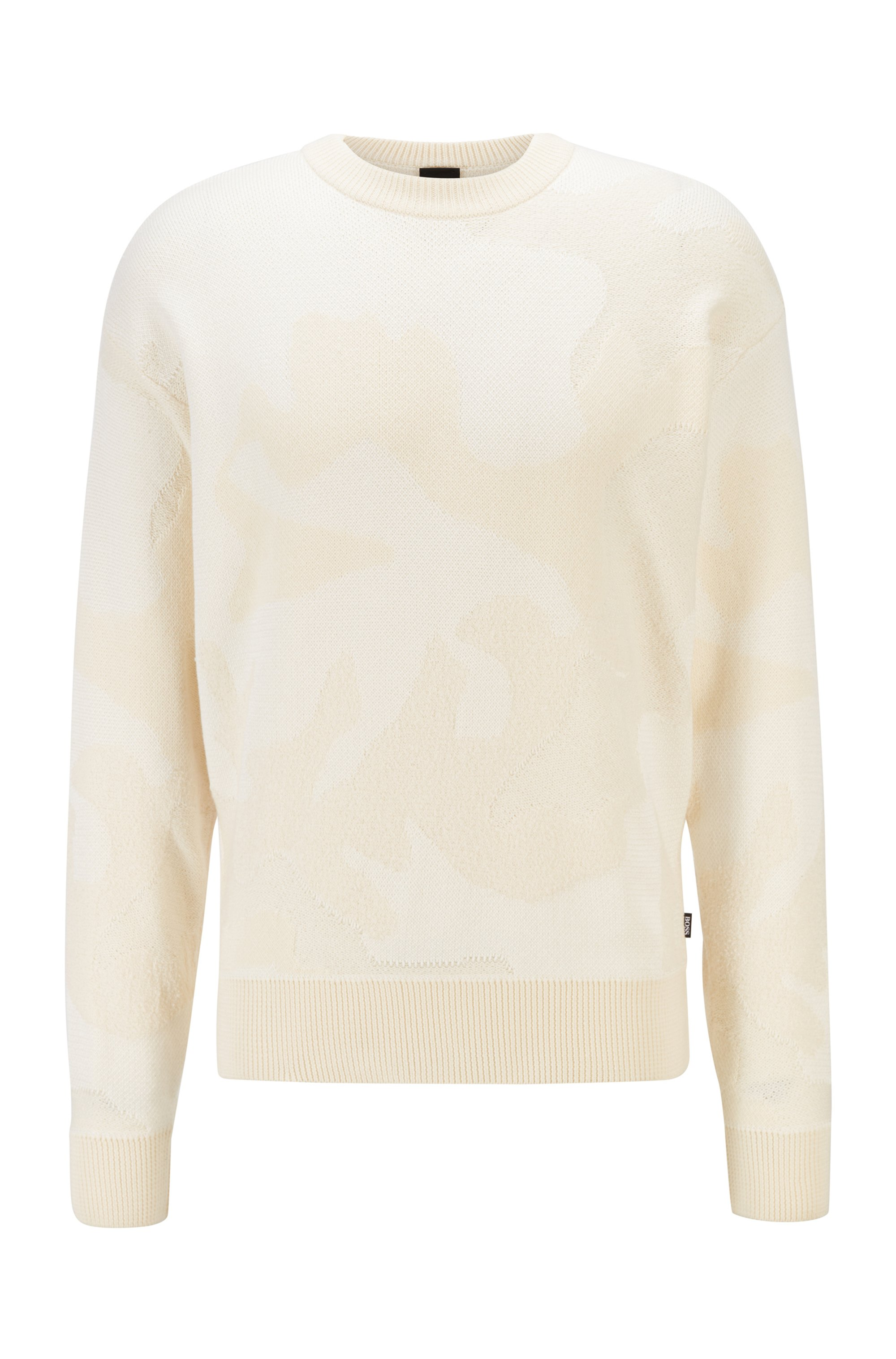 Camouflage-pattern sweater in cotton-blend knitted jacquard, White