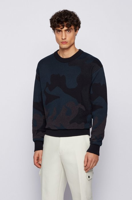 Camouflage-pattern sweater in cotton-blend knitted jacquard, Dark Blue