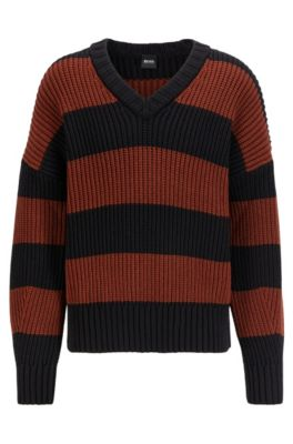 Hugo Boss HUGO BOSS - RUGBY STRIPE V NECK SWEATER IN A COTTON BLEND - BROWN