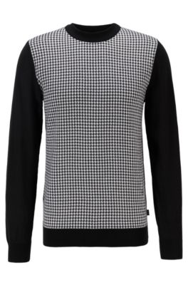 Hugo Boss Sweaters HUGO BOSS - CREW NECK SWEATER IN MERCERIZED COTTON WITH VICHY CHECK - BLACK